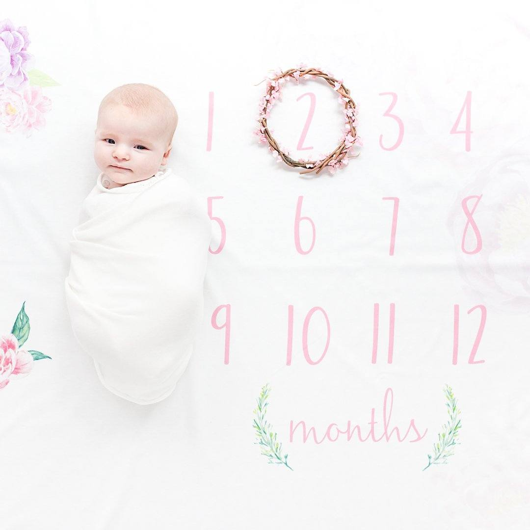 Personalized Peony Organic Milestone Swaddle Blanket - Project Nursery