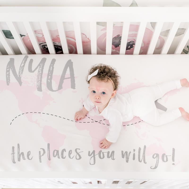 Personalized Organic Cotton Crib Sheet - Places You Will Go - Project Nursery