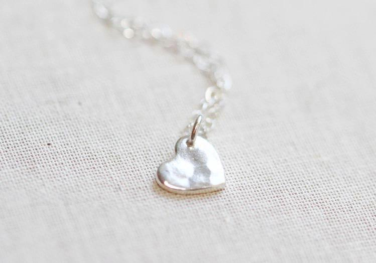 Hammered Heart Necklace Silver - The Project Nursery Shop - 2