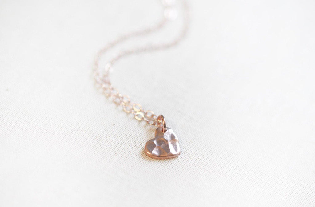 Hammered Heart Necklace Rose - The Project Nursery Shop - 3