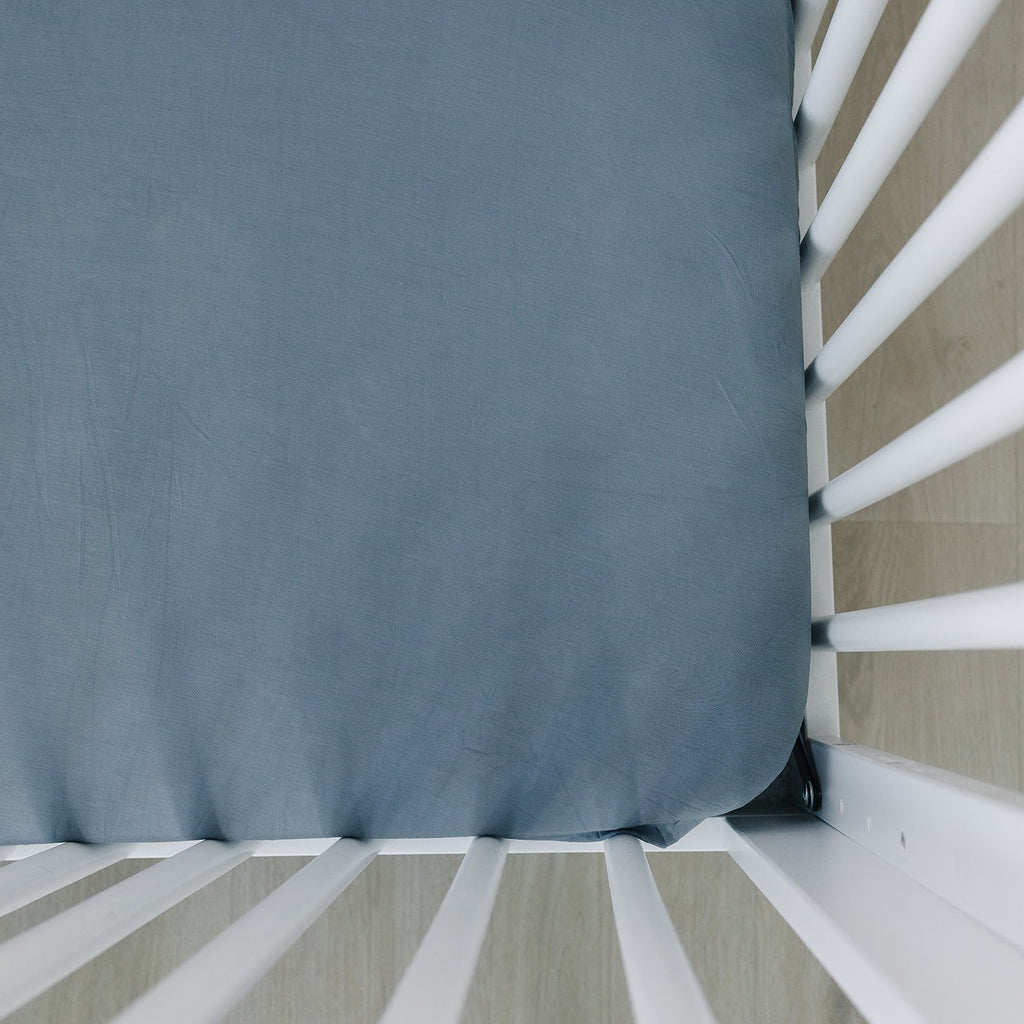 Dusty Blue Stretch Crib Sheet - Project Nursery