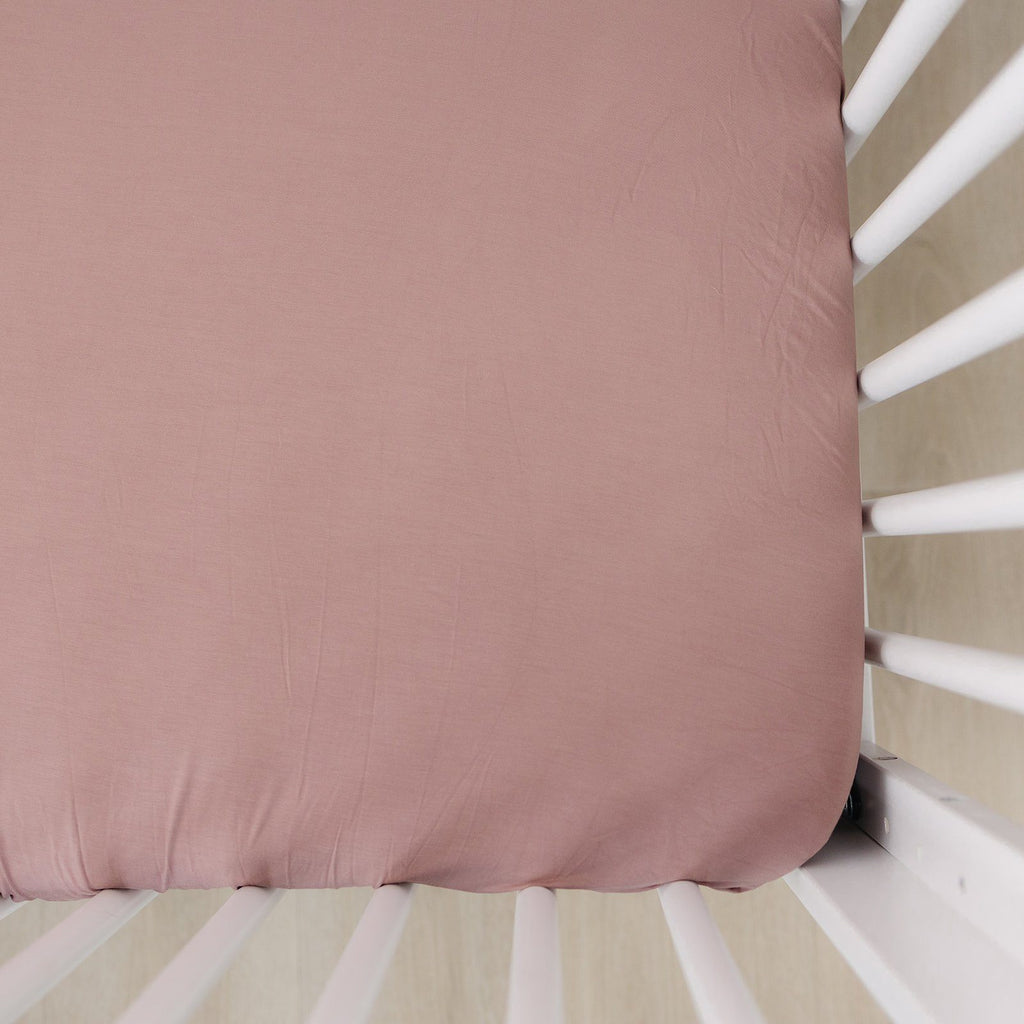 Dusty Rose Stretch Crib Sheet - Project Nursery