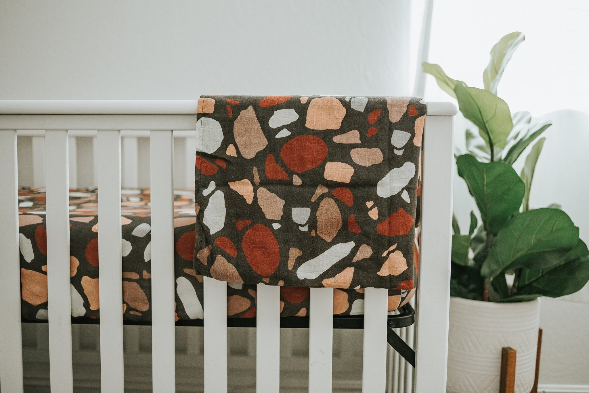 Dark Terazzo Swaddle Blanket - Project Nursery