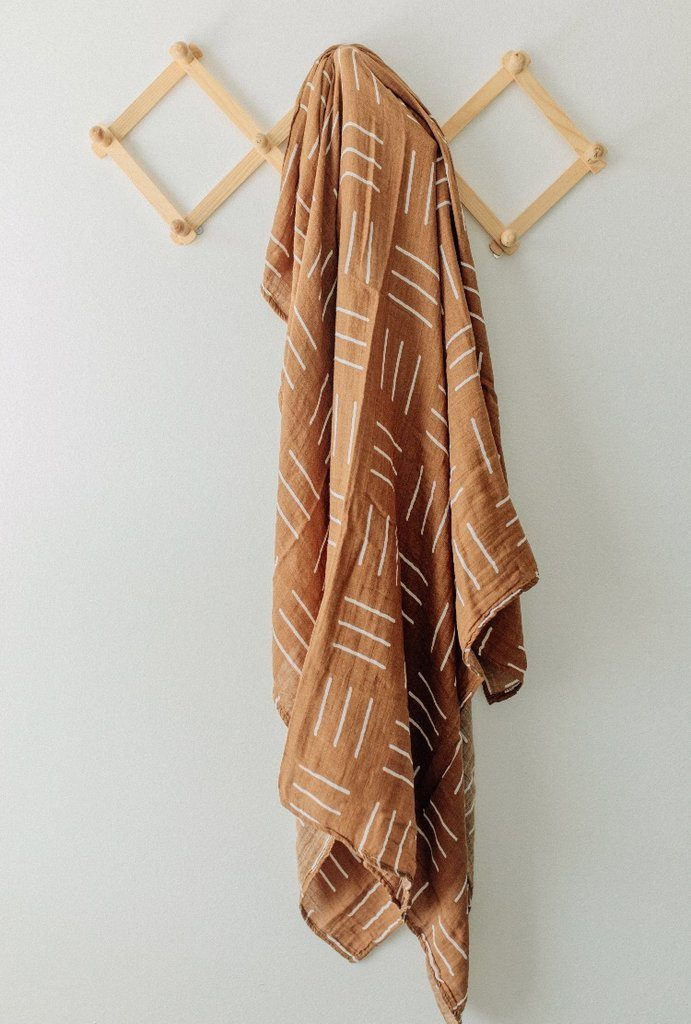 Mustard Mudcloth Muslin Swaddle Blanket - Project Nursery