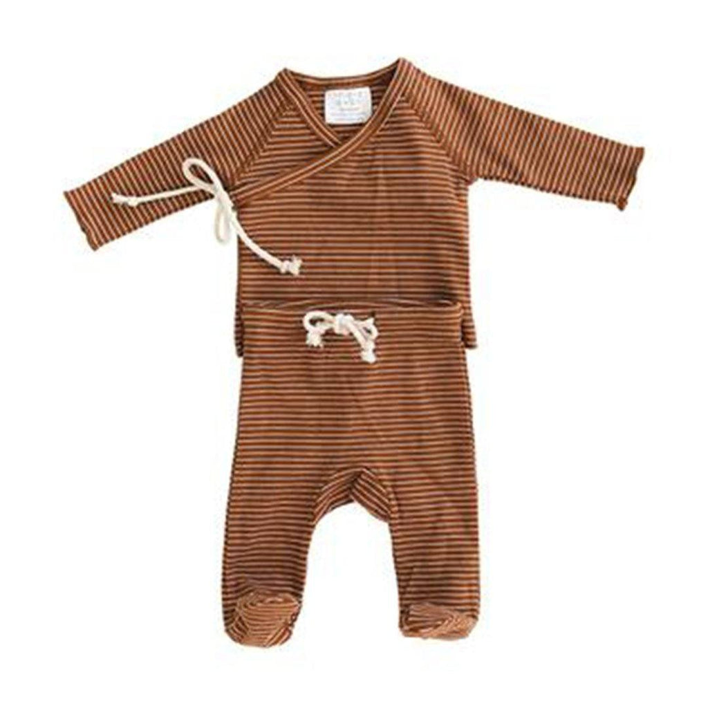 Rust + White Striped Ribbed Cotton Layette Set - Project Nursery