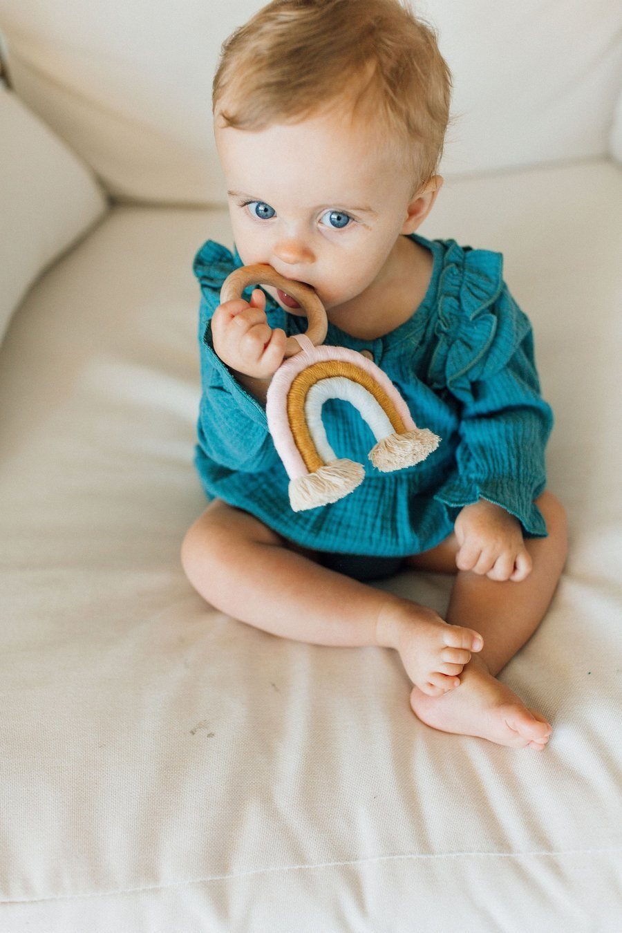 Macrame Rainbow Teether - Light Pink + Baby Blue - Project Nursery
