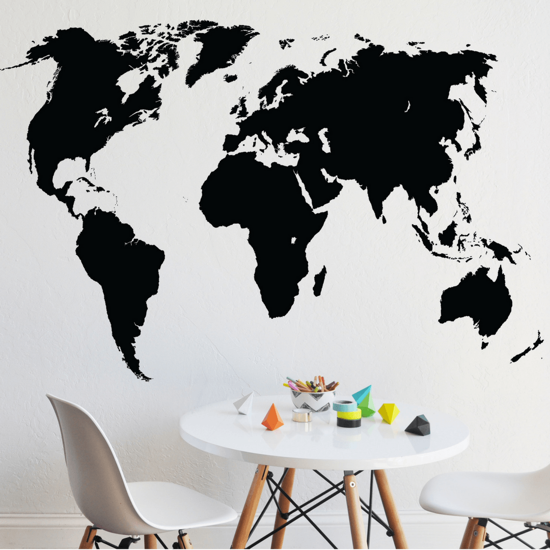 Chalkboard world map decal project nursery chalkboard world map decal gumiabroncs Images