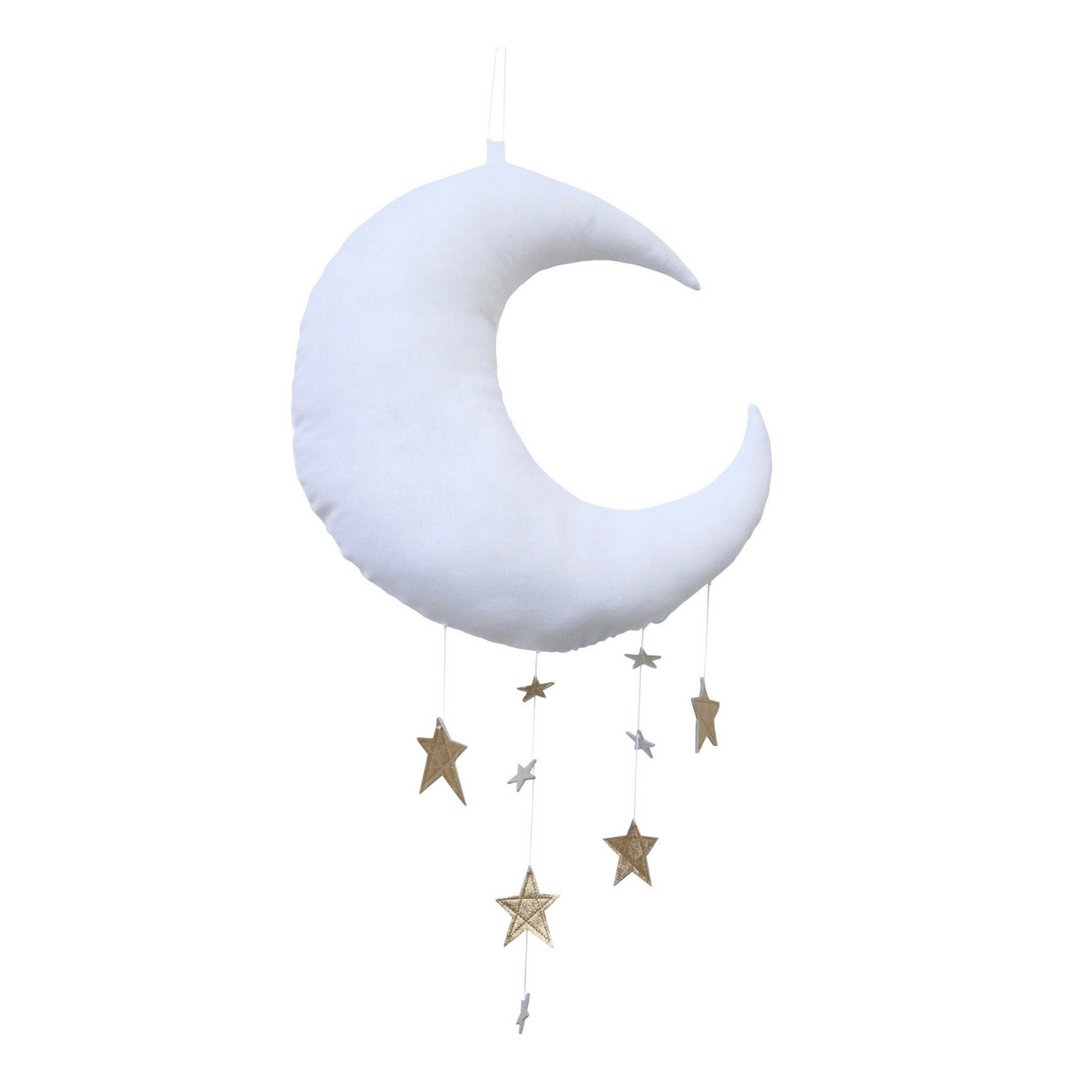 Luxe Cascading Moon Mobile - White