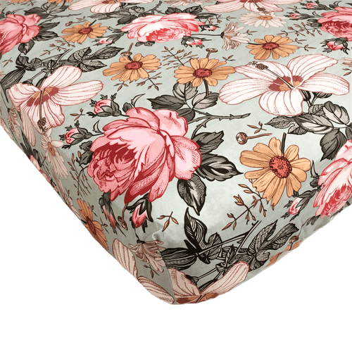 Garden Floral Crib Sheet - Sea Foam - Project Nursery