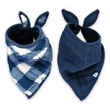 Cotton Bandana Bib Set in Jack Plaid  - The Project Nursery Shop - 1