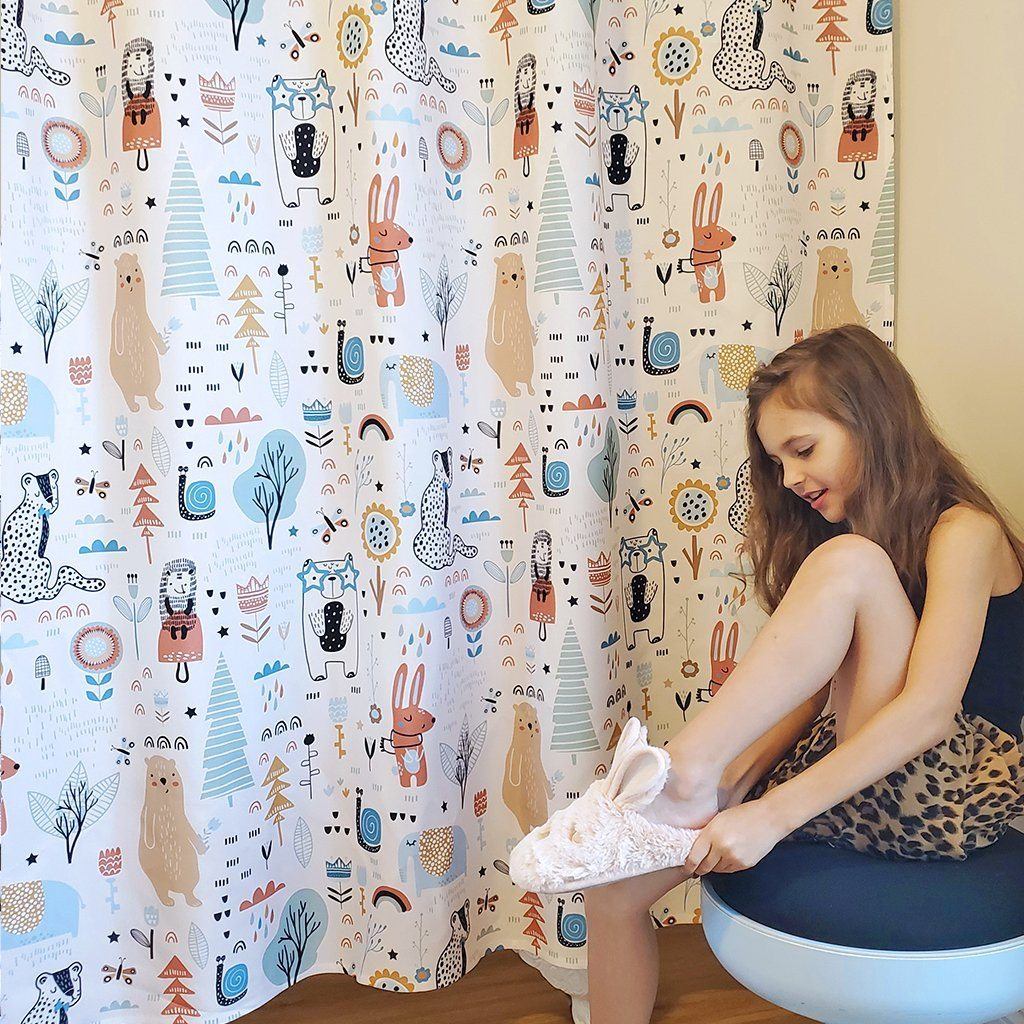 Fun Animal Doodles Kids Shower Curtain - Project Nursery