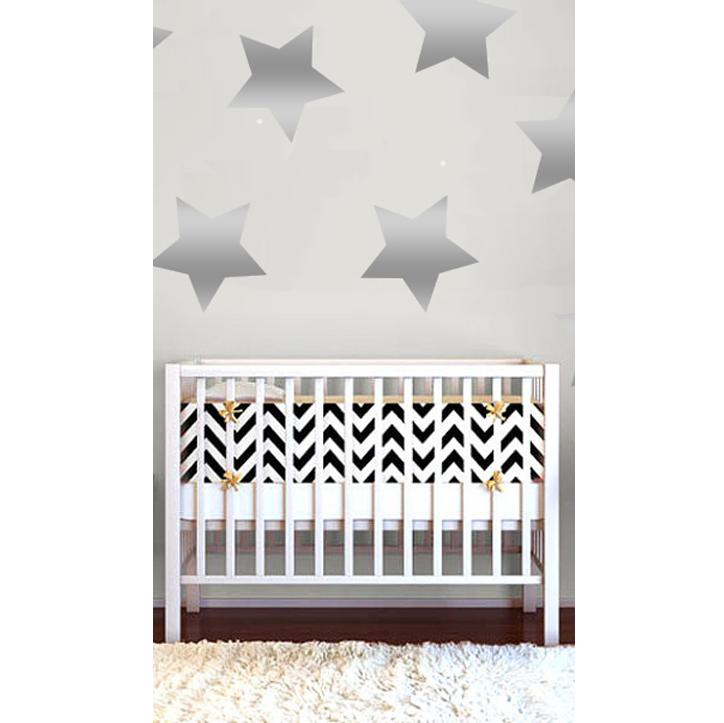 Star Wall Decals XL Metallic Silver - The Project Nursery Shop - 2