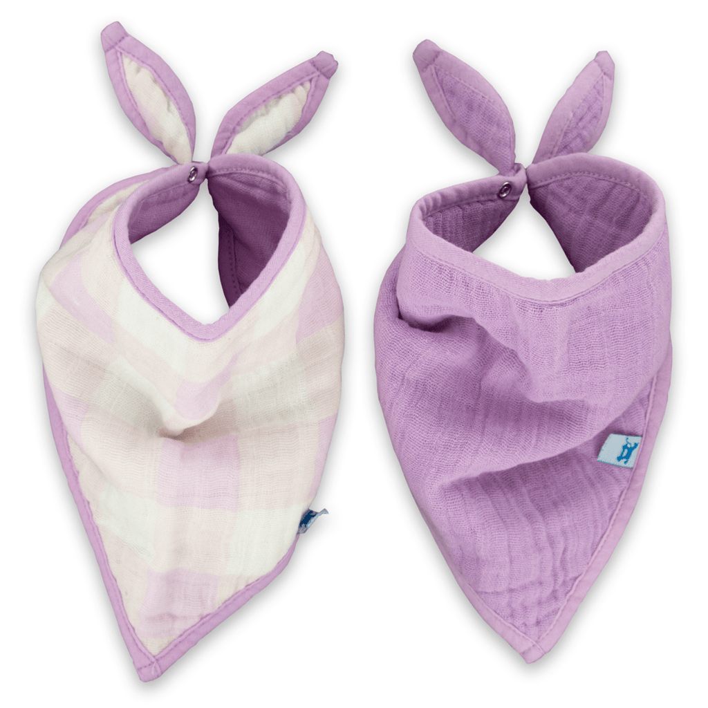 Cotton Bandana BIb Set in Lilac Plaid  - The Project Nursery Shop - 1