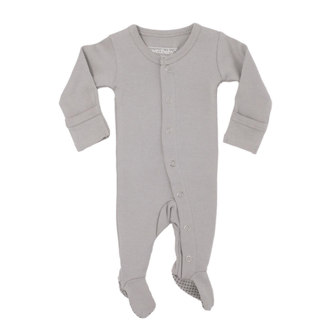 Organic Short-Sleeve Kimono Bodysuit - Light Gray Willow