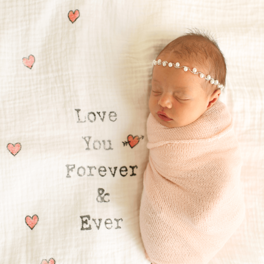 'Love You Forever and Ever' Organic Swaddle Scarf - Project Nursery