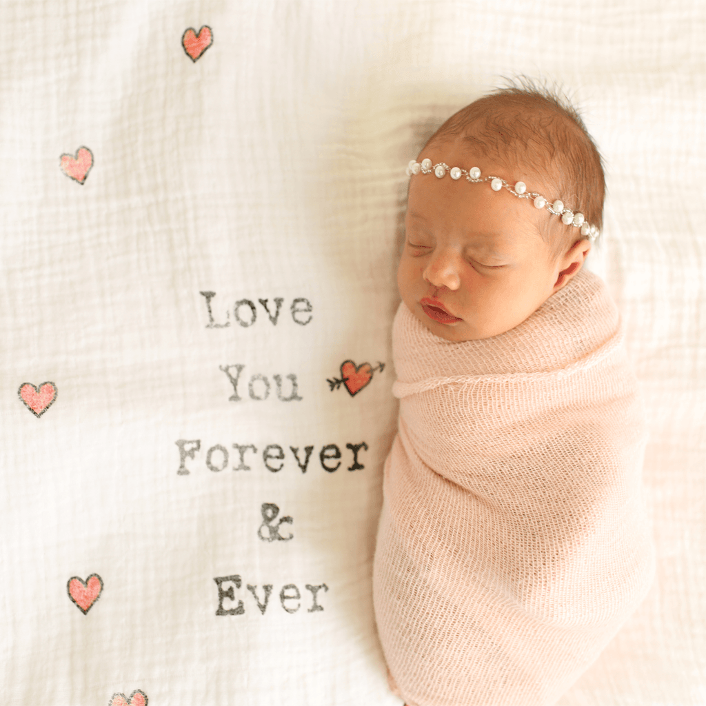 'Love You Forever and Ever' Organic Swaddle Scarf  - The Project Nursery Shop - 3