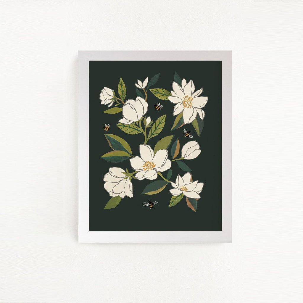 Magnolia + Bumble Bees Art Print - Project Nursery