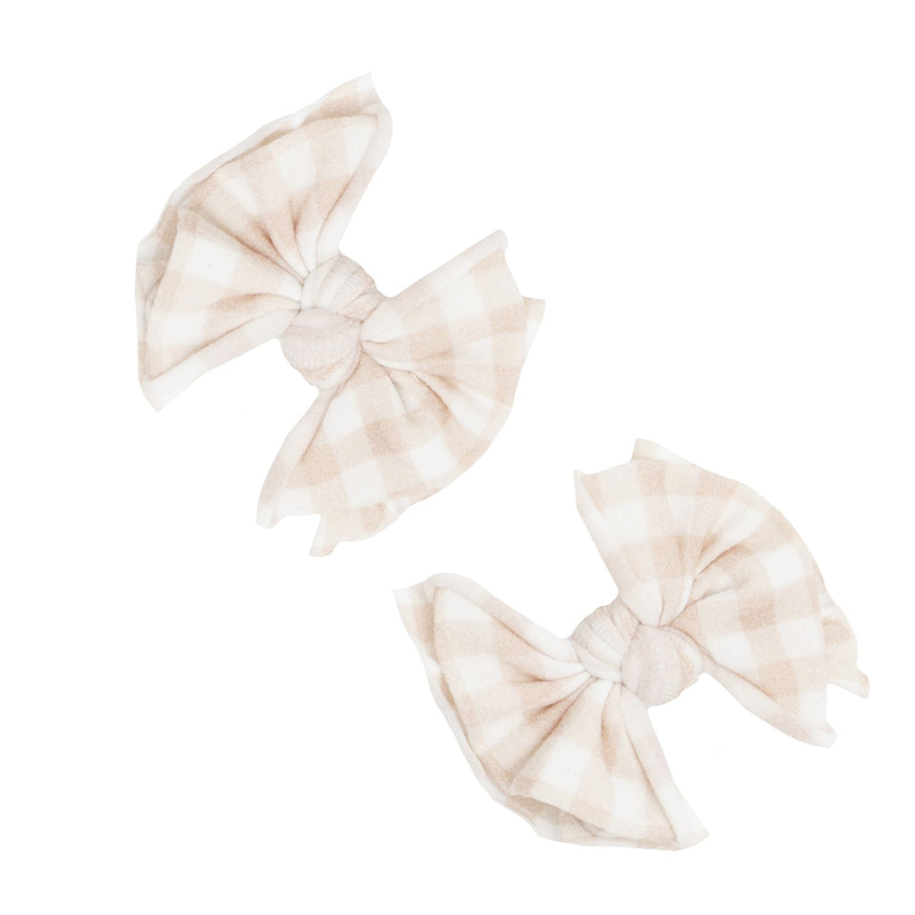 Petal Gingham Printed Bow Clip Set - Project Nursery