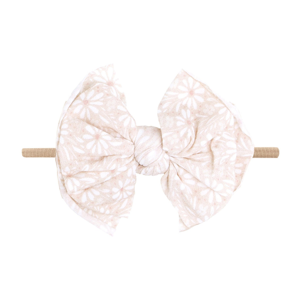 Blush White Daisy Printed Fab-Bow-Lous Skinny Headband - Project Nursery