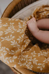 Leafy Sprig Swaddle Blanket - Mustard - Project Nursery