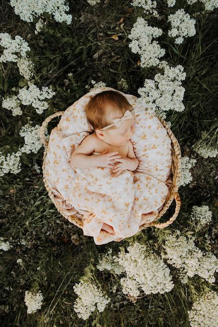 Whimsy Floral Swaddle Blanket - Peach - Project Nursery
