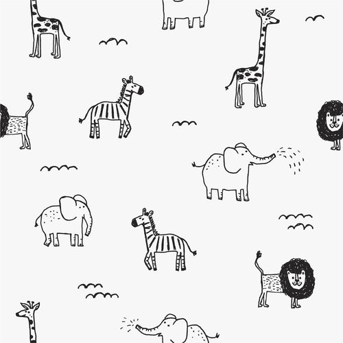 Monochrome Safari Mural Wallpaper - Project Nursery