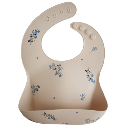 Lilac Flowers Silicone Baby Bib - Project Nursery