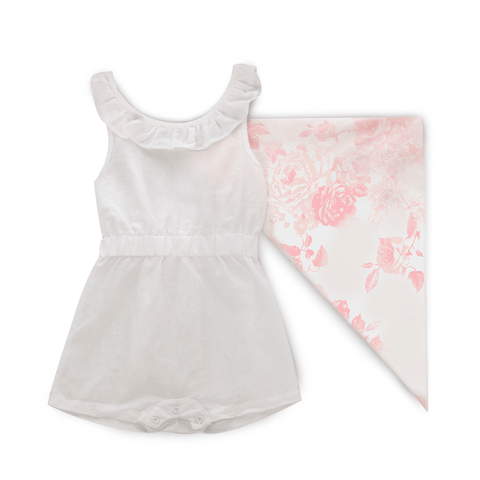 Deluxe Muslin Bandana Bib Set in Blue Windflower