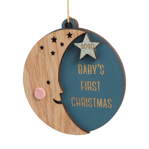 Personalized Baby's First Christmas Moon Ornament - Project Nursery