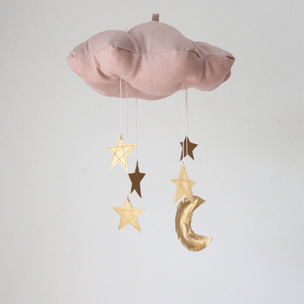 Blush Cloud & Moon Mobile in Gold  - The Project Nursery Shop - 1