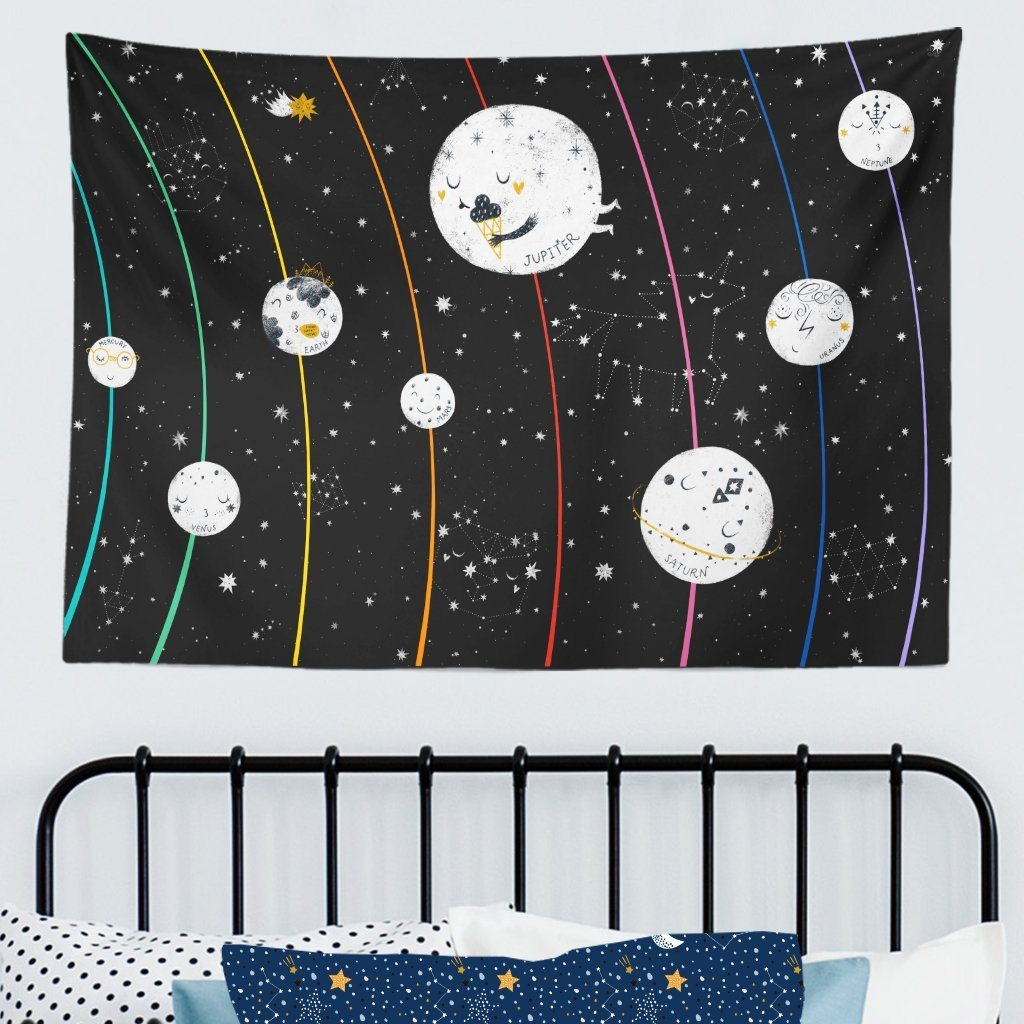 Planets in Outer Space Kids Wall Tapestry - Project Nursery