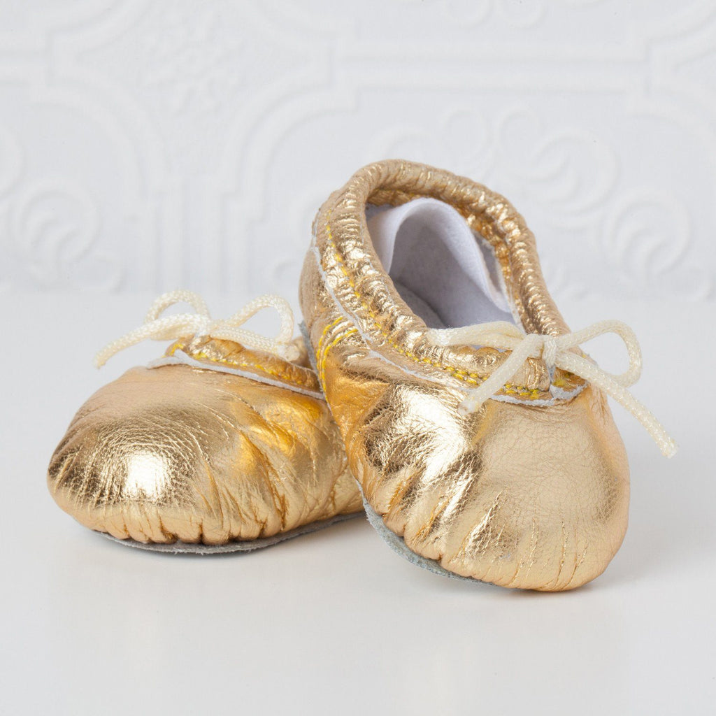 Gold Baby Ballet Slippers Small (3-6 months) - The Project Nursery Shop - 1