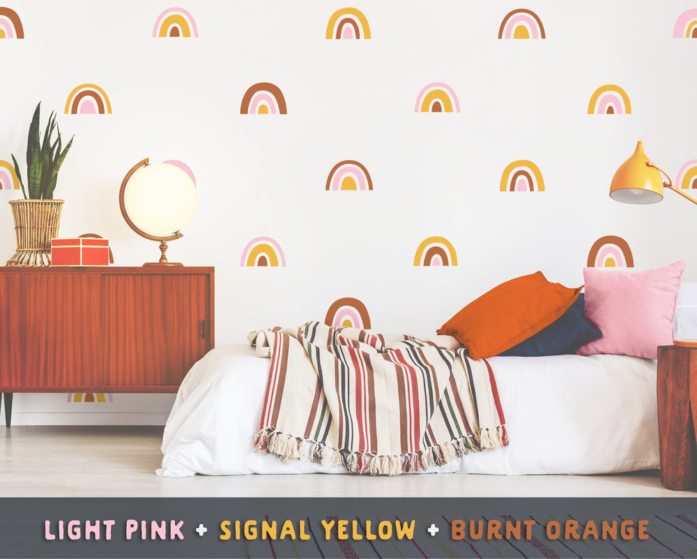 Light Pink + Signal Yellow + Burnt Orange