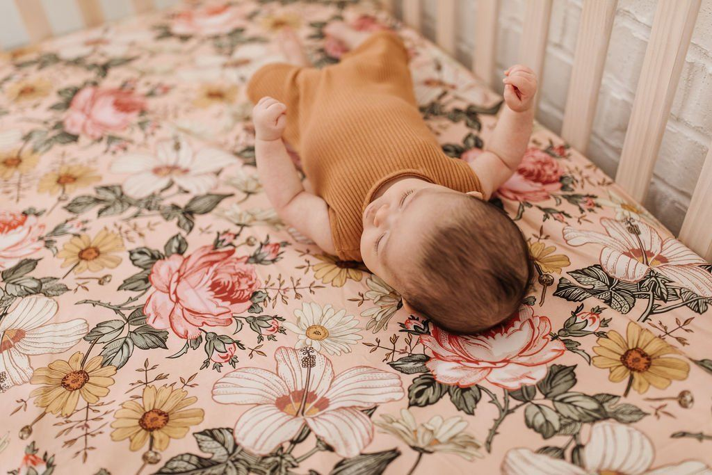 Garden Floral Crib Sheet - Rose Pink - Project Nursery