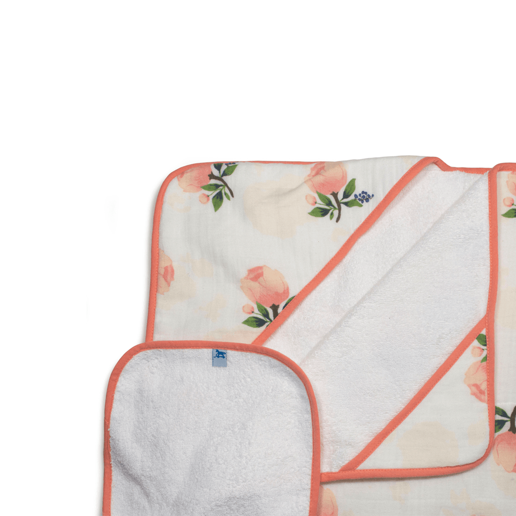 Hooded Towel Set - Watercolor Rose  - The Project Nursery Shop - 1