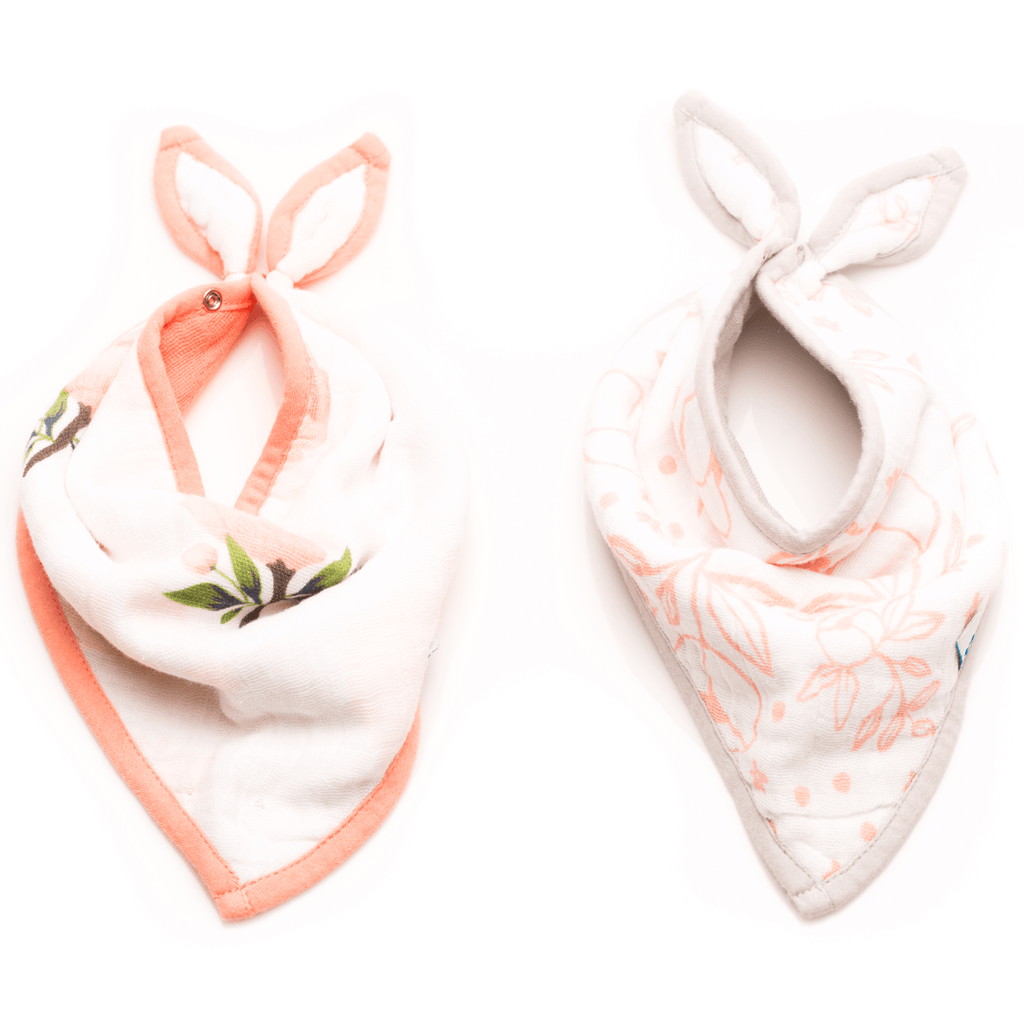 Cotton Bandana Bib Set in Watercolor Rose  - The Project Nursery Shop - 1