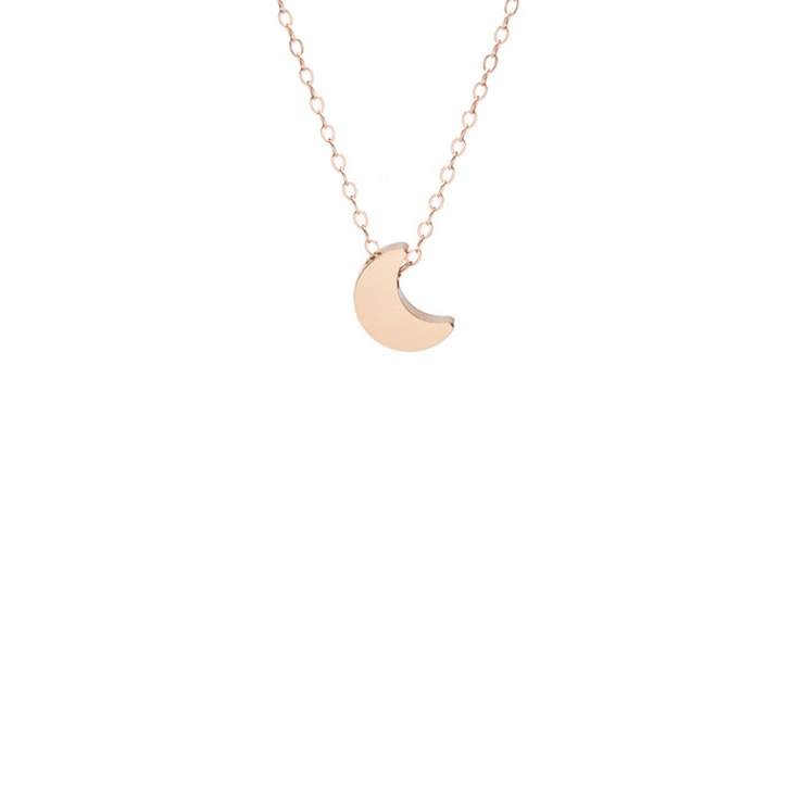 Moon Necklace In Rose Gold