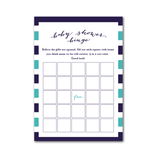 Baby Shower Bingo in Rugby Stripe - Project Nursery