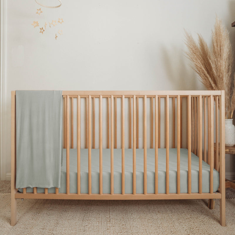 Organic Bamboo Crib Sheet - Sage - Project Nursery