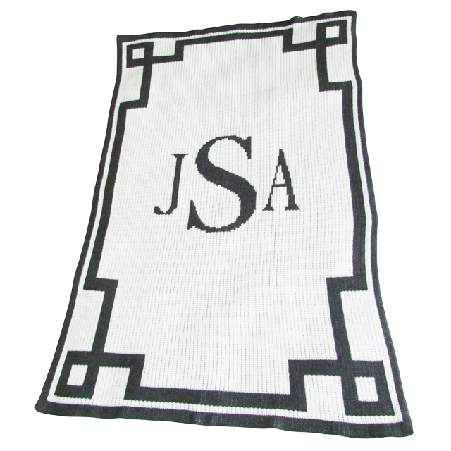 Monogram And Scroll Blanket - Stroller / Cashmere