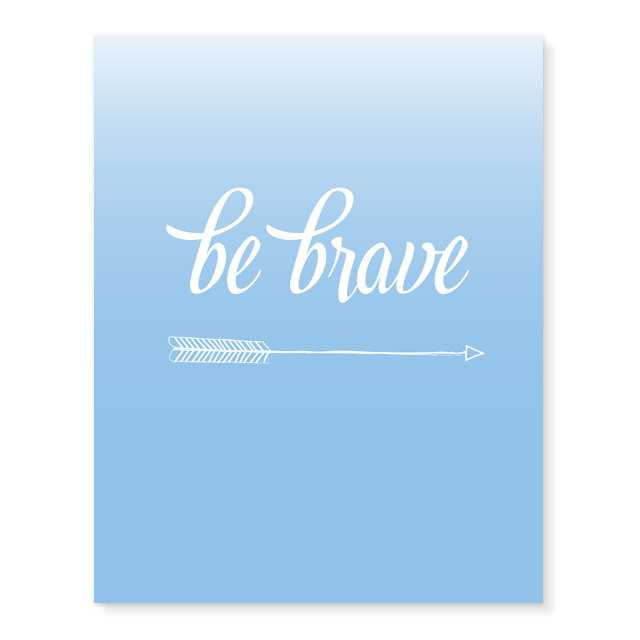 Be Brave Print in Blue Be Brave/Blue - The Project Nursery Shop