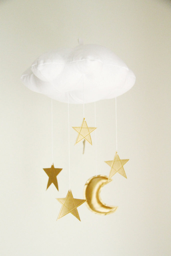 White Cloud & Moon Mobile in Gold  - The Project Nursery Shop - 5