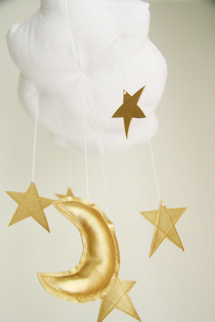 White Cloud & Moon Mobile in Gold  - The Project Nursery Shop - 4