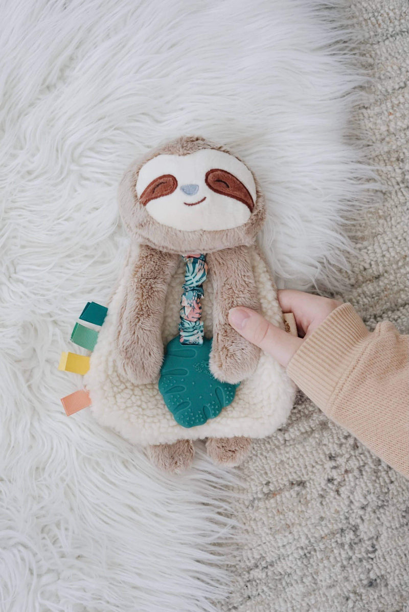 Itzy Lovey Sloth Plush Toy with Silicone Teether Toy - Project Nursery