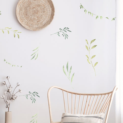 Watercolor Sweet Branches and Leaves Wall Decals - Project Nursery