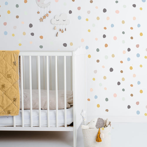 Tiny Hand Drawn Dots Wall Decal - Muted Colors - Project Nursery
