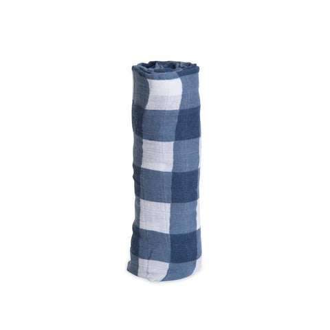 Navy Windowpane Deluxe Muslin Swaddle Blanket