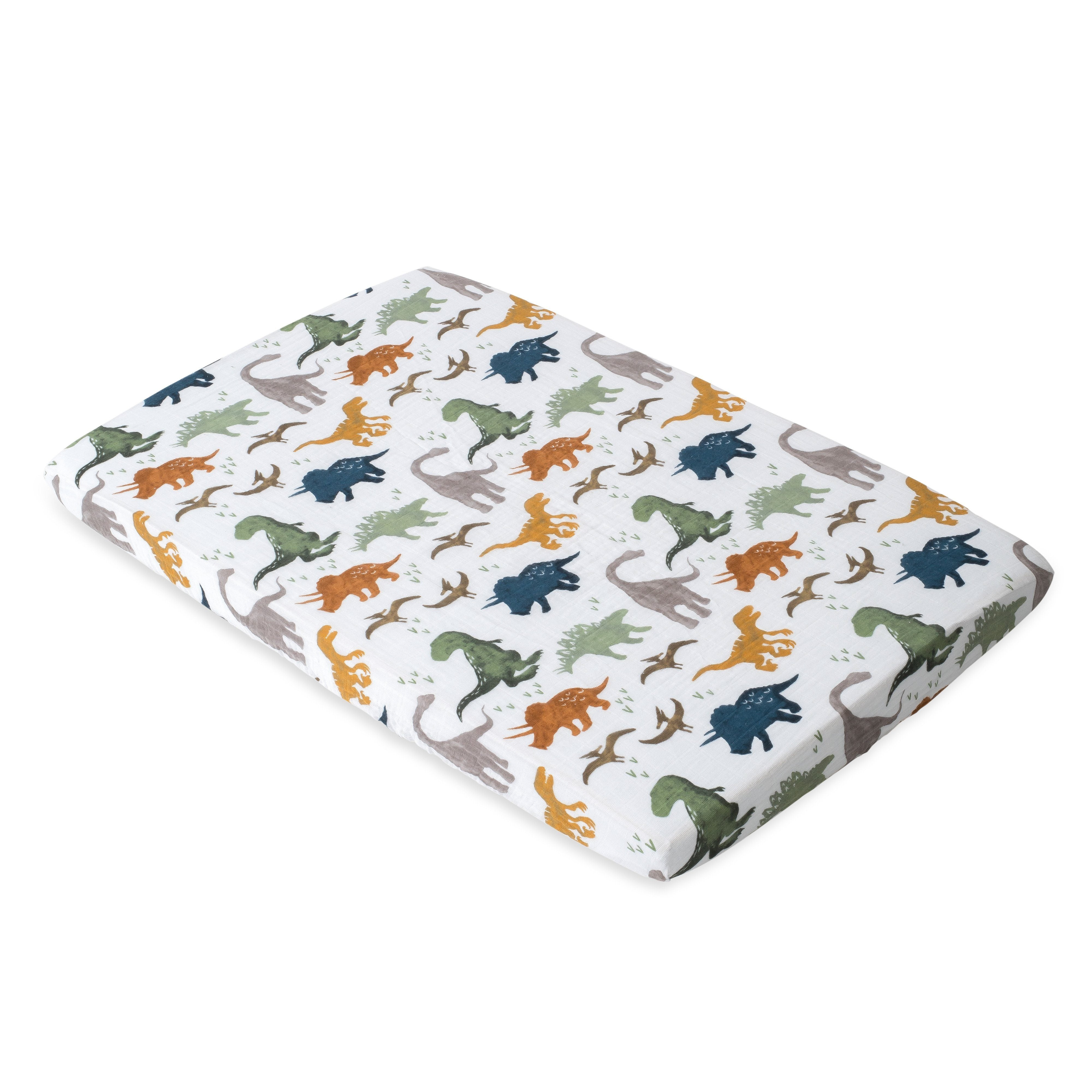 Dino Friends Cotton Muslin Mini Crib Sheet - Project Nursery