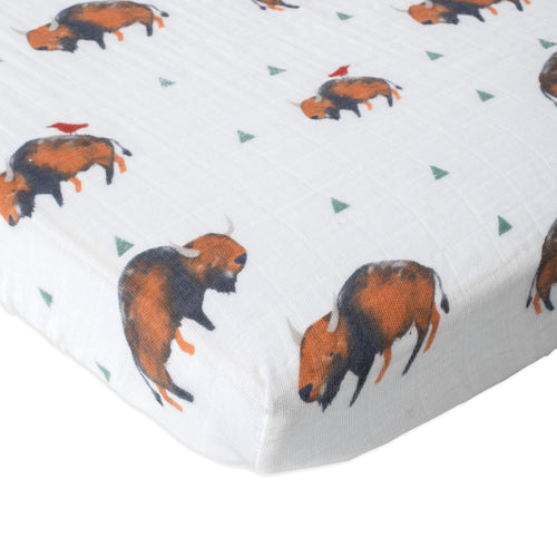 Bison Cotton Muslin Mini Crib Sheet - Project Nursery