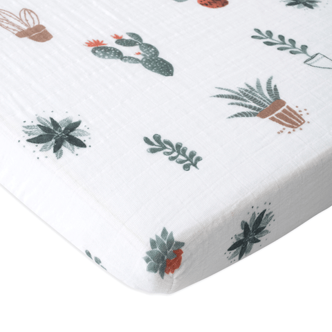 Green Palm Leaf Crib Sheet
